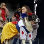Білосніжка, семеро гномів, інші  учасники костюмованого параду